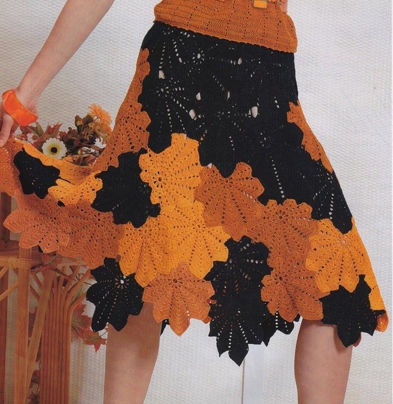 Вязание крючком женской юбки. Видео, схемы и описание