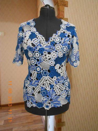 Вязаная блузка в стиле ирландского кружева