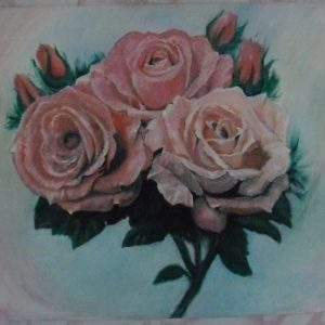 """""""Три розы"""" натюрморт на холсте маслом"""