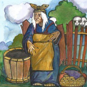 Иллюстрация М. Киселёвой к сказке про Бабу Ягу.