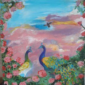 Павлины в розовом закате М. Киселёвой